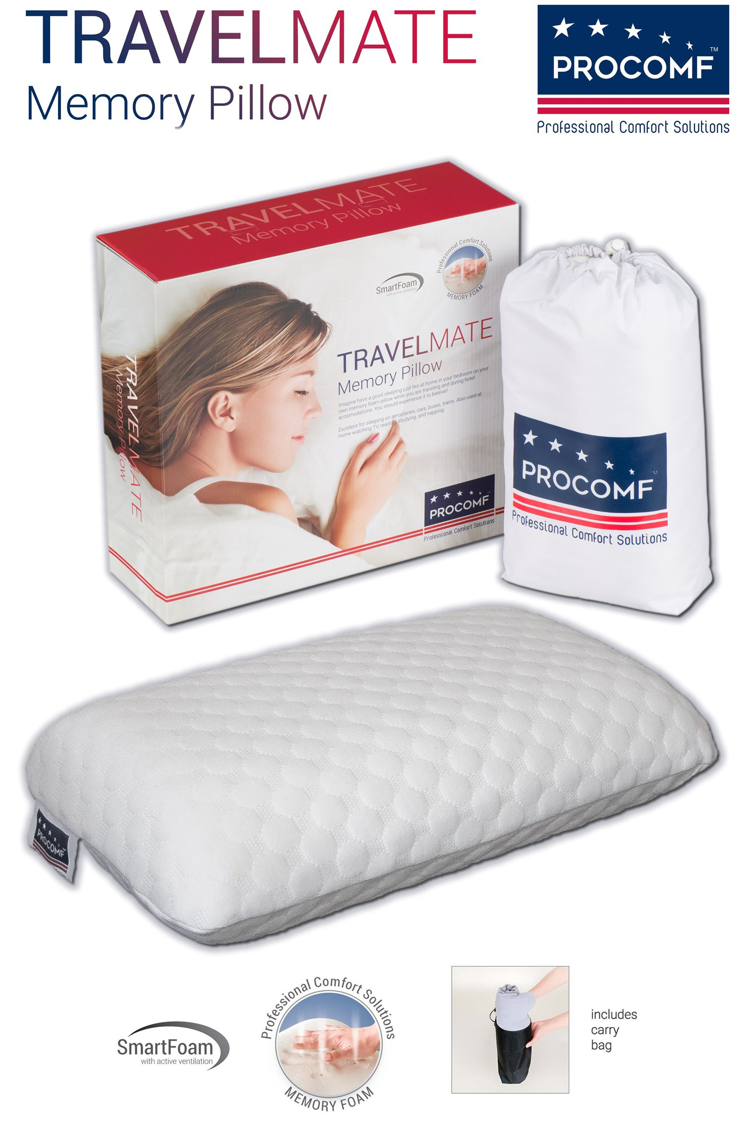 VISCO LOVE ProComf Travel Mate/Baby/Kid's/Teen's Memory Foam Pillow