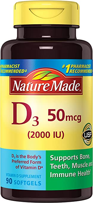 Nature Made Vitamin D3 2000 IU (50 mcg) Softgels, 90 Ct
