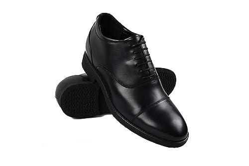 Zerimar Zapatos de Hombre con Alzas Interiores EN Piel Aumento 7 cm Zapatos Caballeros Color Negro Talla 42 dxg2UHhdp