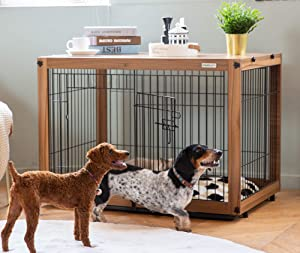 Simply Plus Wood & Wire Dog Crate with Slide Tray and Detachable Top Cover Indoor Pet Crate Side Table,Chew-Proof