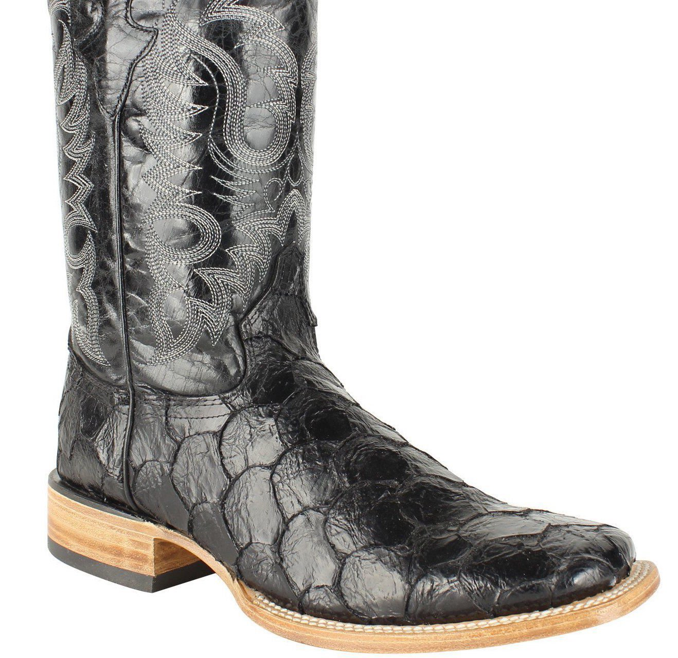 Men Genuine Cowhide Leather Fish Print Square Toe Western Boots_Black_9
