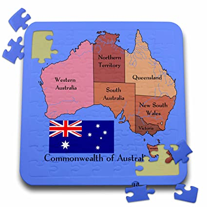 Australia Map And Flag.777images Flags And Maps Australia The Map And Flag Of The Commonwealth Of Australia With States And Territories Marked 10x10 Inch Puzzle