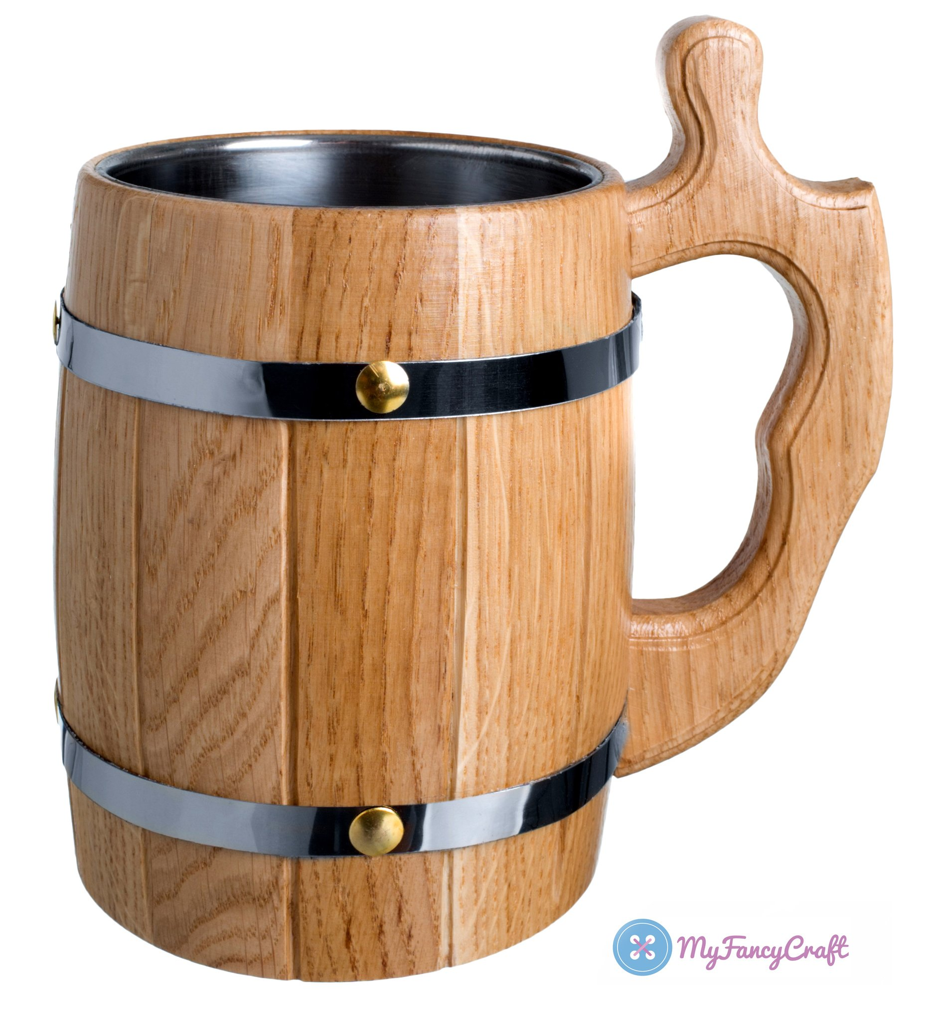 Handmade Beer Mug 0.6L 20oz Oak Wood Natural Eco-Friendly Gift Metal Line Beige