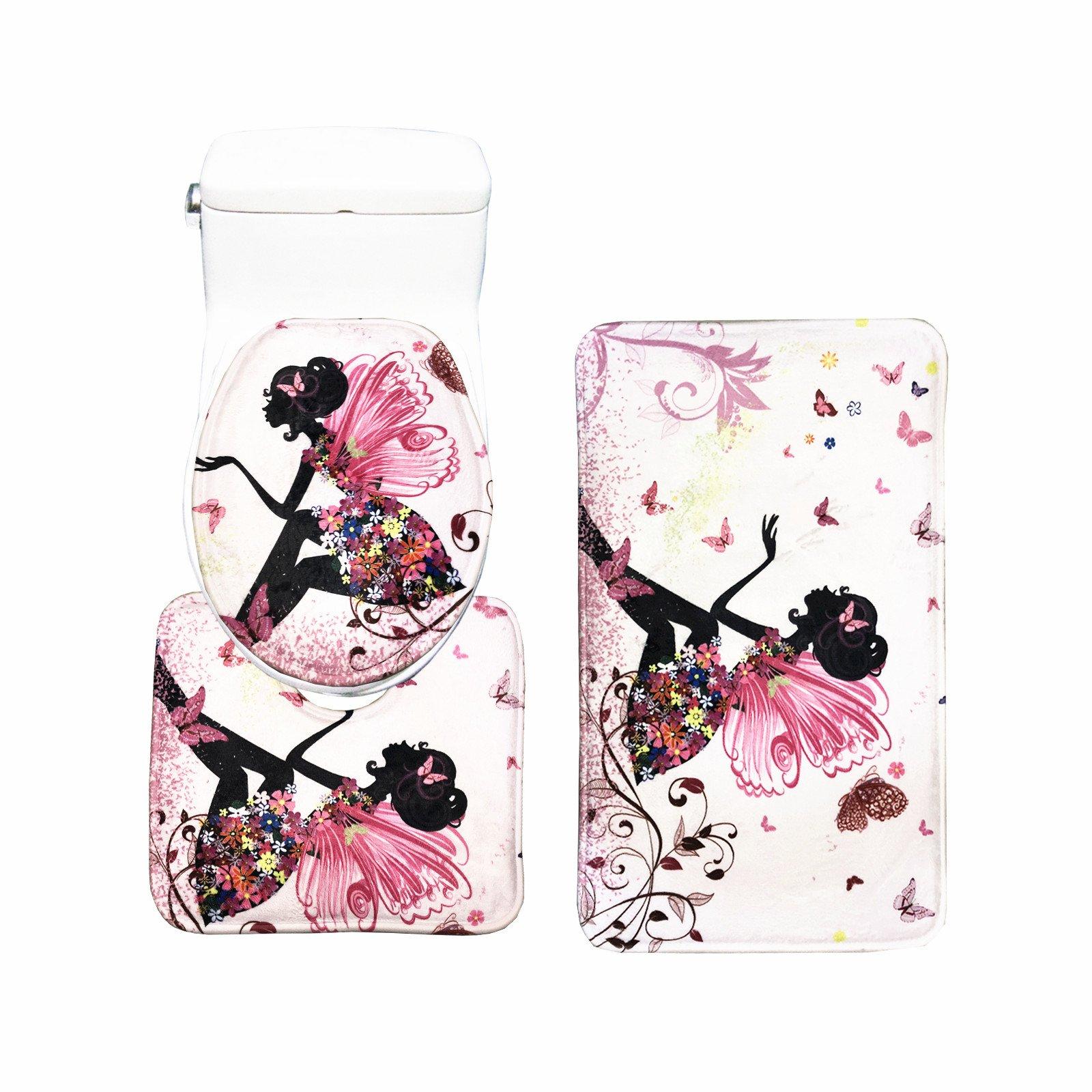 Amagical Flower Fairy Girl with Butterfly 3 Piece Bathroom Mat Set Bathroom Mat Contour Mat Toilet Cover Colorful