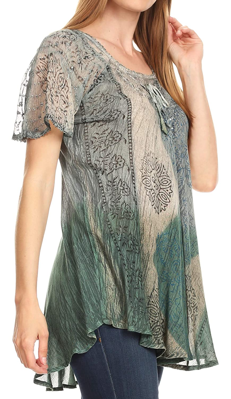 Sakkas Marzia kvinnor lös passform kort ärm ledig batik blus topp tunika 19208-grau