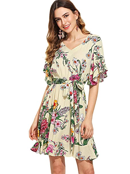 9025991502 Amazon.com: SheIn Women's Casual Floral Print V Neck Short Sleeve Ruffle  Belted Beach Dress: Clothing