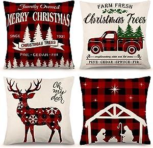 ZJHAI Farmhouse Christmas Pillow Covers 18x18 Set of 4 for Christmas Decor Buffalo Check Throw Pillow Covers Black and Red Buffalo Plaid Christmas Decorations Throw Pillow Covers