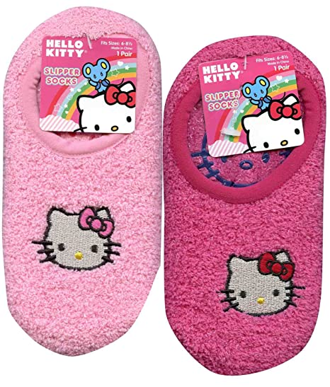 77afb7533 Image Unavailable. Image not available for. Color: 2 Pair Assorted Hello  Kitty Fuzzy Slipper ...