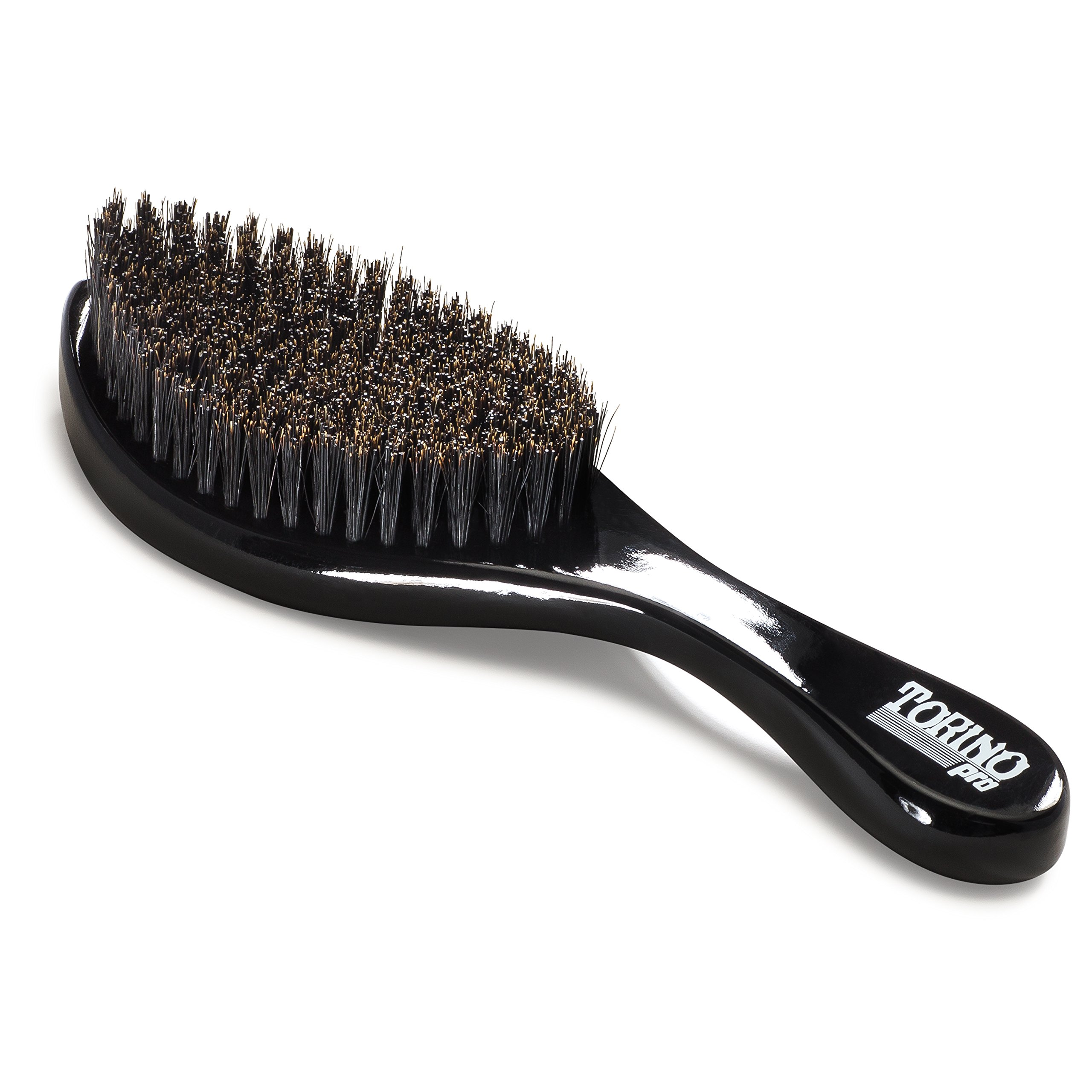 Torino Pro Curve Wave Brush by Brush King - #450 - Medium Hard Curve Wave Brush - Made with Reinforced Boar & Nylon Bristles -True Texture Medium Hard 360 Waves Brushes by Torino Pro (Image #4)