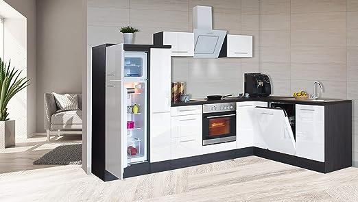 Respekta Winkelkuche Kuchenzeile Kuche L Form Kuche Eiche Weiss Hochglanz 290x200 Cm Amazon De Kuche Haushalt