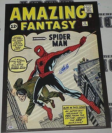 f6b5eff34dfed Stan Lee Signed Amazing Fantasy 15 Spiderman Comic Book 20x28 Poster ...