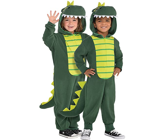 Superior AMSCAN Zipster Dinosaur One Piece Halloween Costume For Kids, Small, With  Attached Hood And