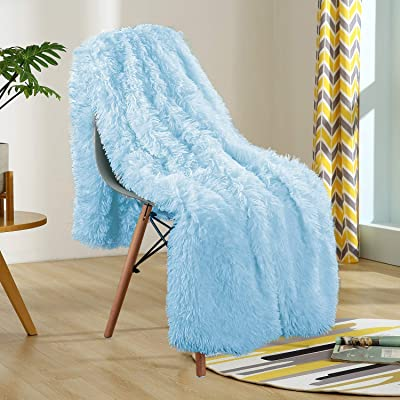 YOH Soft Fuzzy Shaggy Throw Blanket, Luxury Fluffy Faux Fur Furry Couch Bed Throws, Warm Sherpa Hypoallergenic Washable Cozy Plush Blanket for Girls Boys, (60x80 Inches) Baby Blue: Home & Kitchen