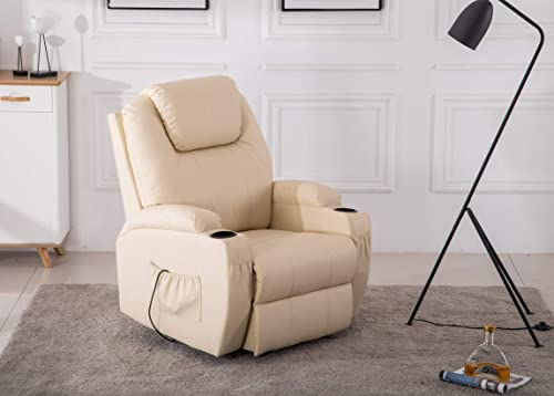 Power Recliner Massage Ergonomic Sofa Vibrating Heated Lounge Chair Faux Leather Dual Cup Holders 7050 Creme White Renewed