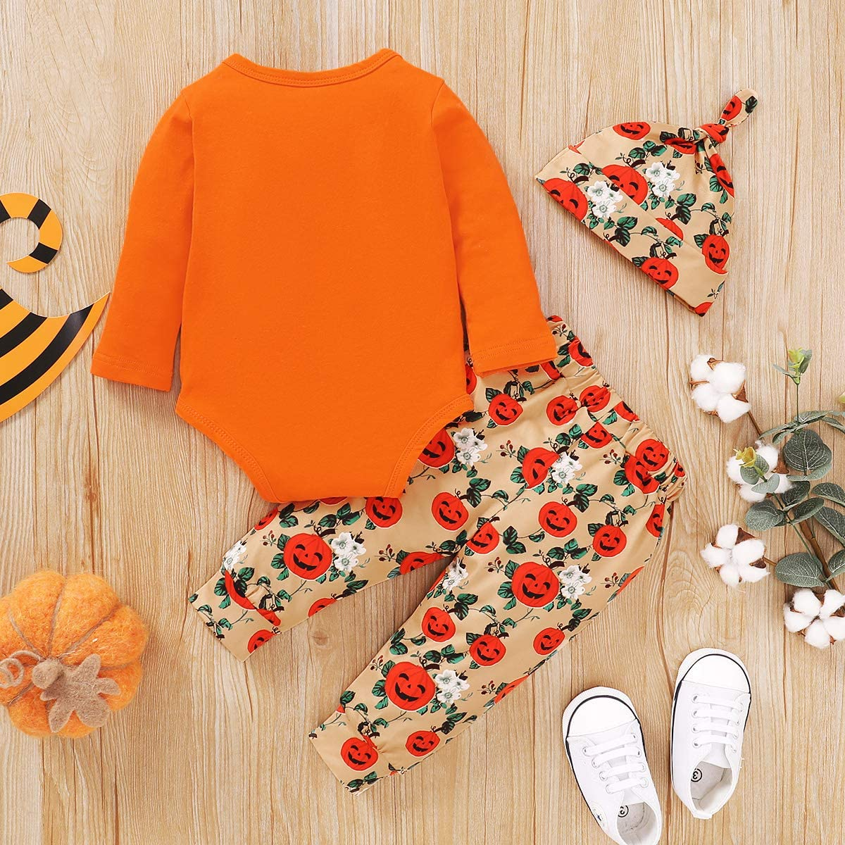 Gajaous Set di vestiti per Halloween per neonati e bambine con zucca set di pantaloni per Halloween
