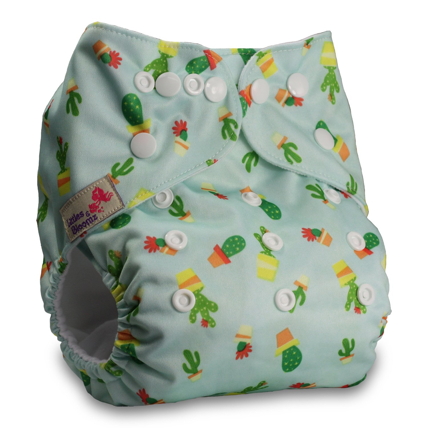 Littles & Bloomz, Reusable Pocket Cloth Nappy, Fastener: Popper, Set of 1, Pattern 20, With 1 Microfibre Insert
