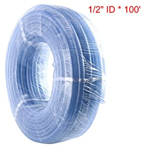 "Homend 100' x 1/2"" ID High Pressure Braided Clear Flexible Industrial PVC Tubing Heavy Duty UV Chemical Resistant Vinyl Hose Water (1/2"" ID X 100FT)"