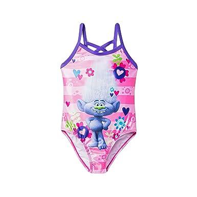 3a22a0b789b18 Amazon.com: Character Girls' Trolls One Piece Striped Swimsuit ...
