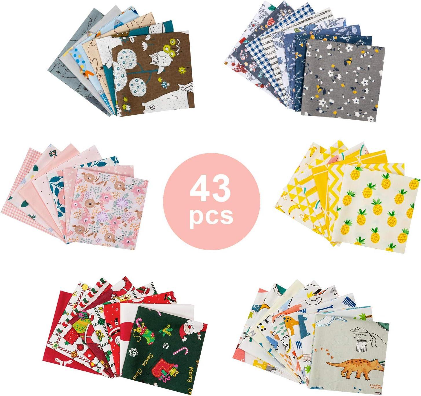 Tela Algodon Telas Patchwork, GuKKK 43 Piezas 25 x 25 cm Tela Algodon para Coser, DIY Floral Telas Patchwork Material, para la Decoración de Costura Artesanal Costura de Acolchado de Scrapbooking