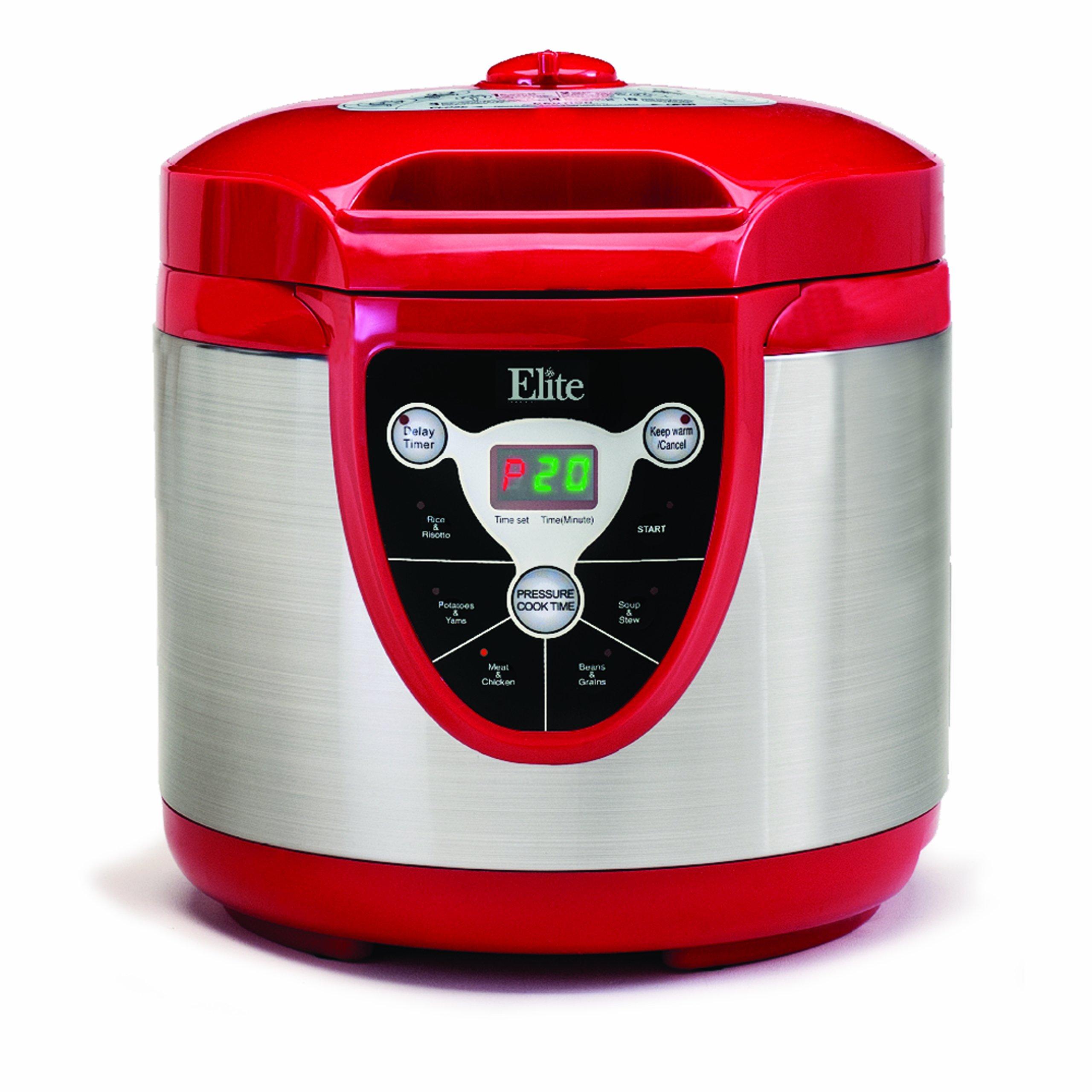 Elite Platinum EPC-607R Maxi-Matic 6 Quart Electric Pressure Cooker, Red (Stainless Steel)