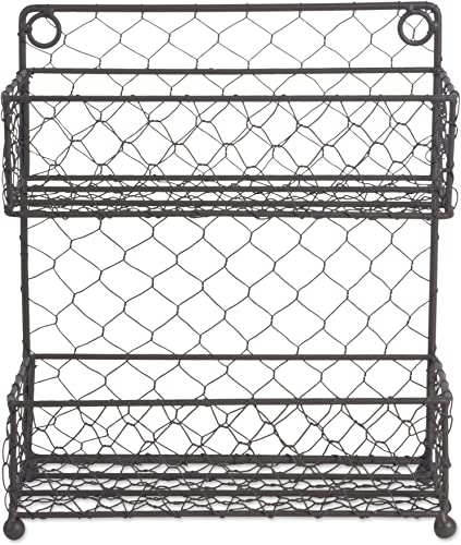 DII Farmhouse Vintage Decorative Metal Pantry Spice Rack Organizer, 9.45Lx4.75Wx10.6H, 2 Tier-Rustic