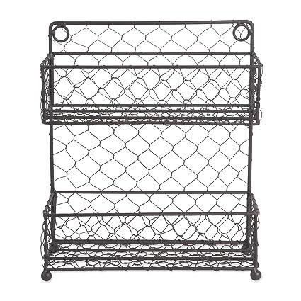 Pantry 2 Tier Vintage Metal Chicken Wire Spice Rack Organizer For Kitchen Wall