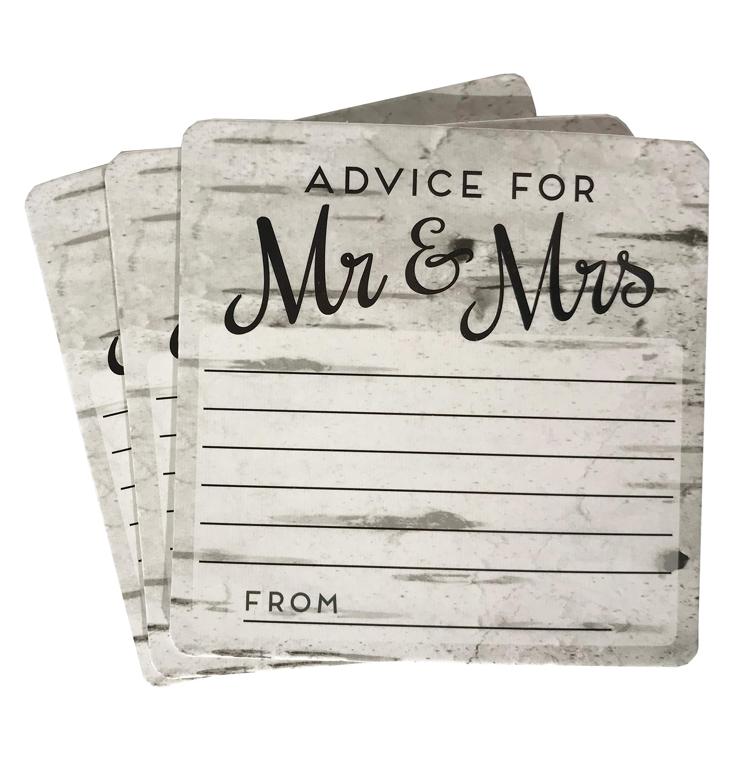20 4x4 rustic wedding advice well wishes for the bride and groom card coasters