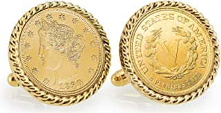 product image for American Coin Treasures Gold-Layered 1800's Liberty Nickel Goldtone Rope Bezel Coin Cuff Links