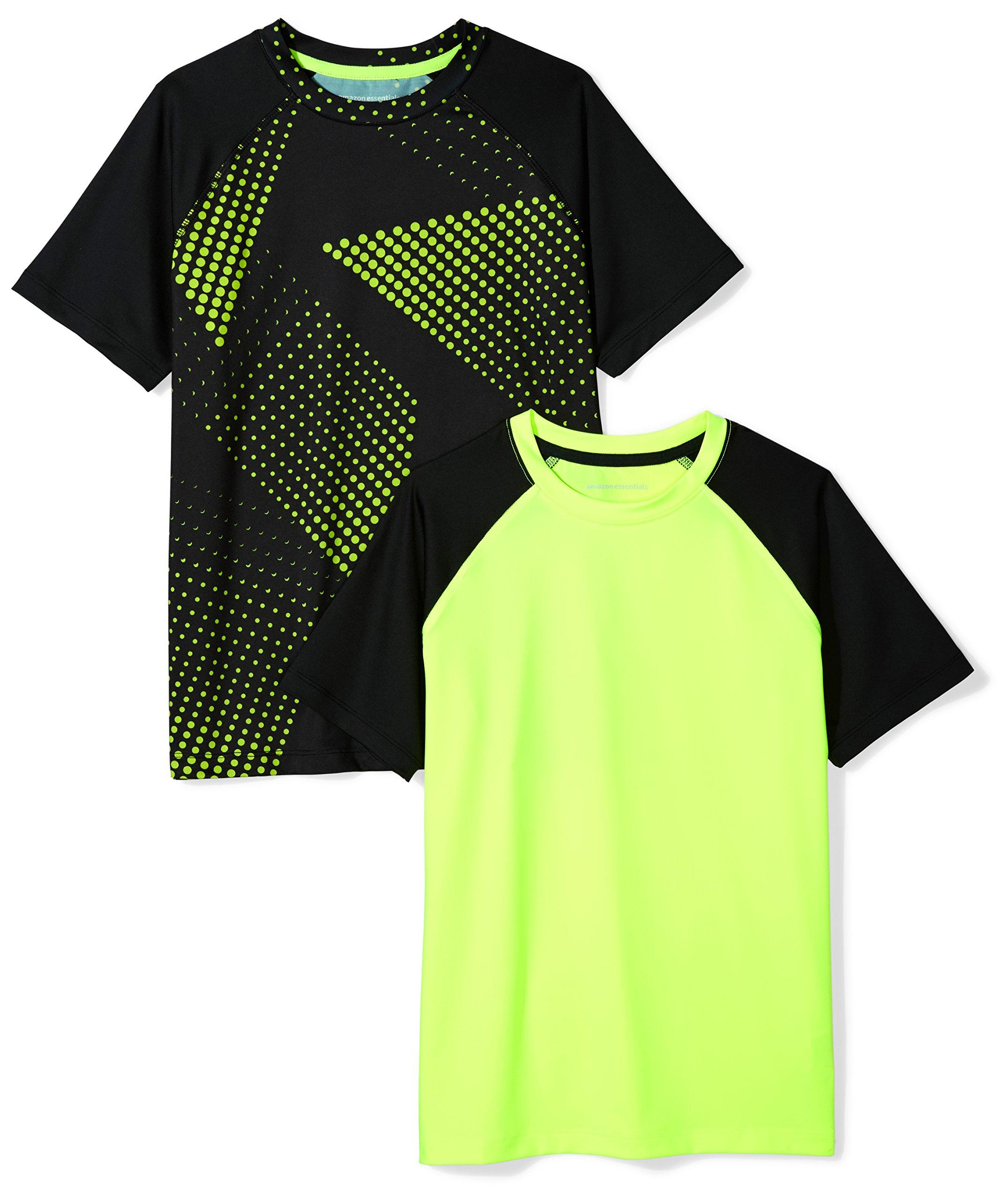 Amazon Essentials Boys' 2-Pack Short-Sleeve Raglan Active Tee, Gradient Print, M