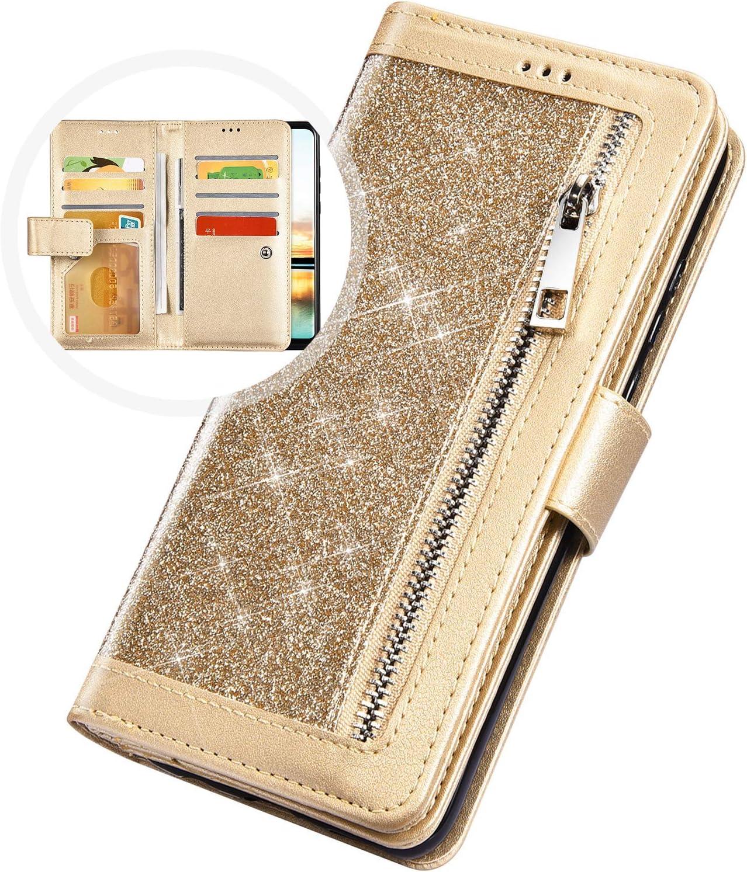 Surakey Compatible con Huawei P20 PRO Glitter cartera piel funda Negro