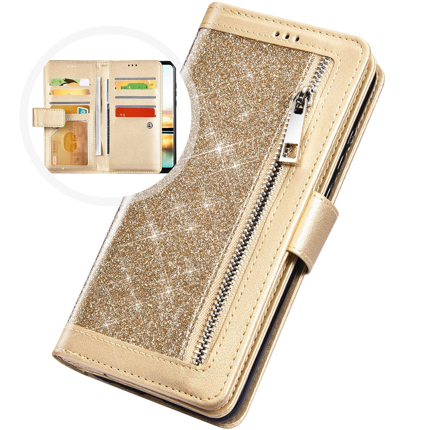 PHEZEN Case for Samsung Galaxy A20 / A30 Wallet Case,Sparkle Bling Glitter PU Leather Magnetic Flip Folio Protective Case Multi-Function 9 Credit Card Holders with Zipper Coins Purse Cover,Gold by PHEZEN