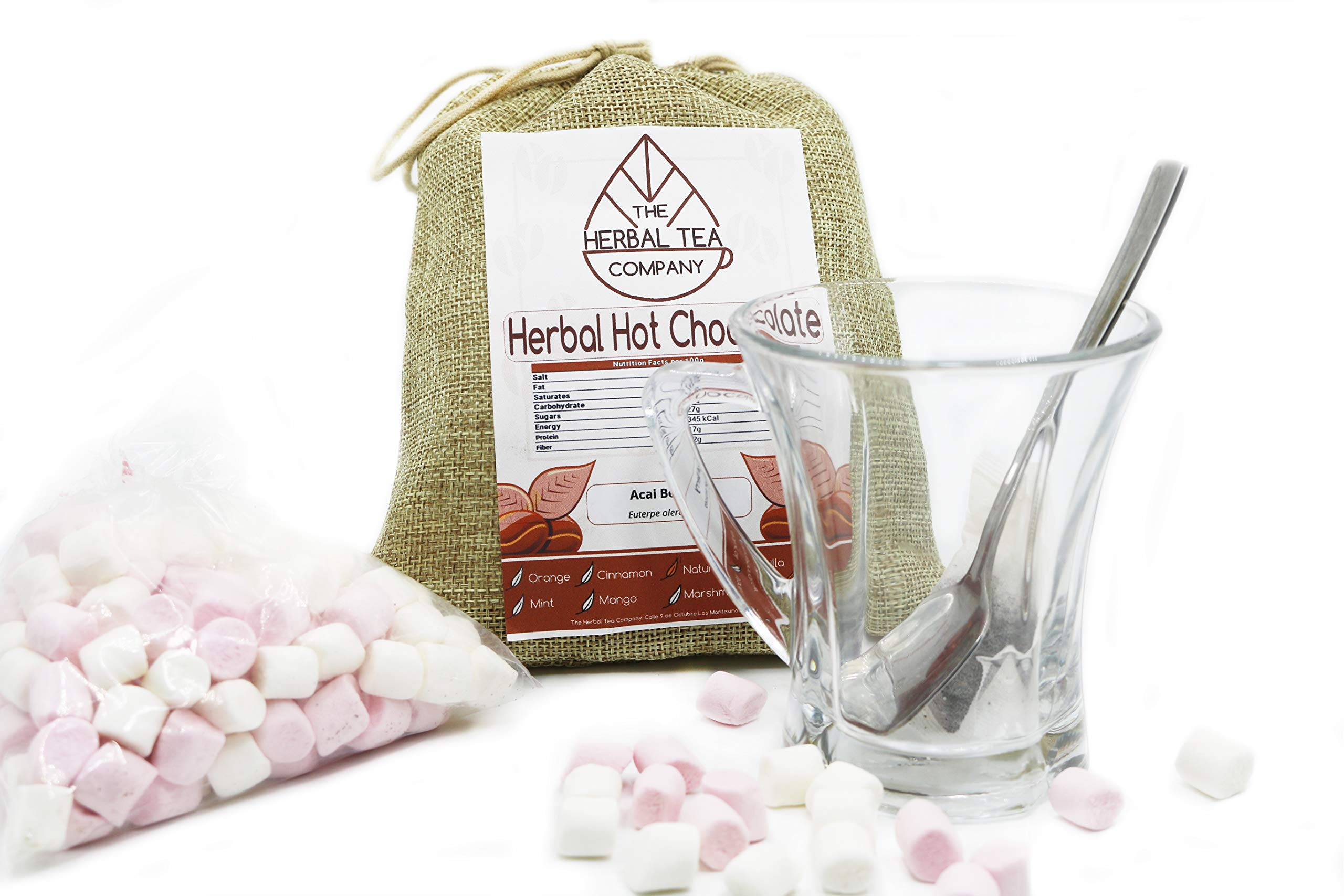 Herbal Hot Chocolate With Ashwagandha Root Organic and FREE Glass Cup Gift Set
