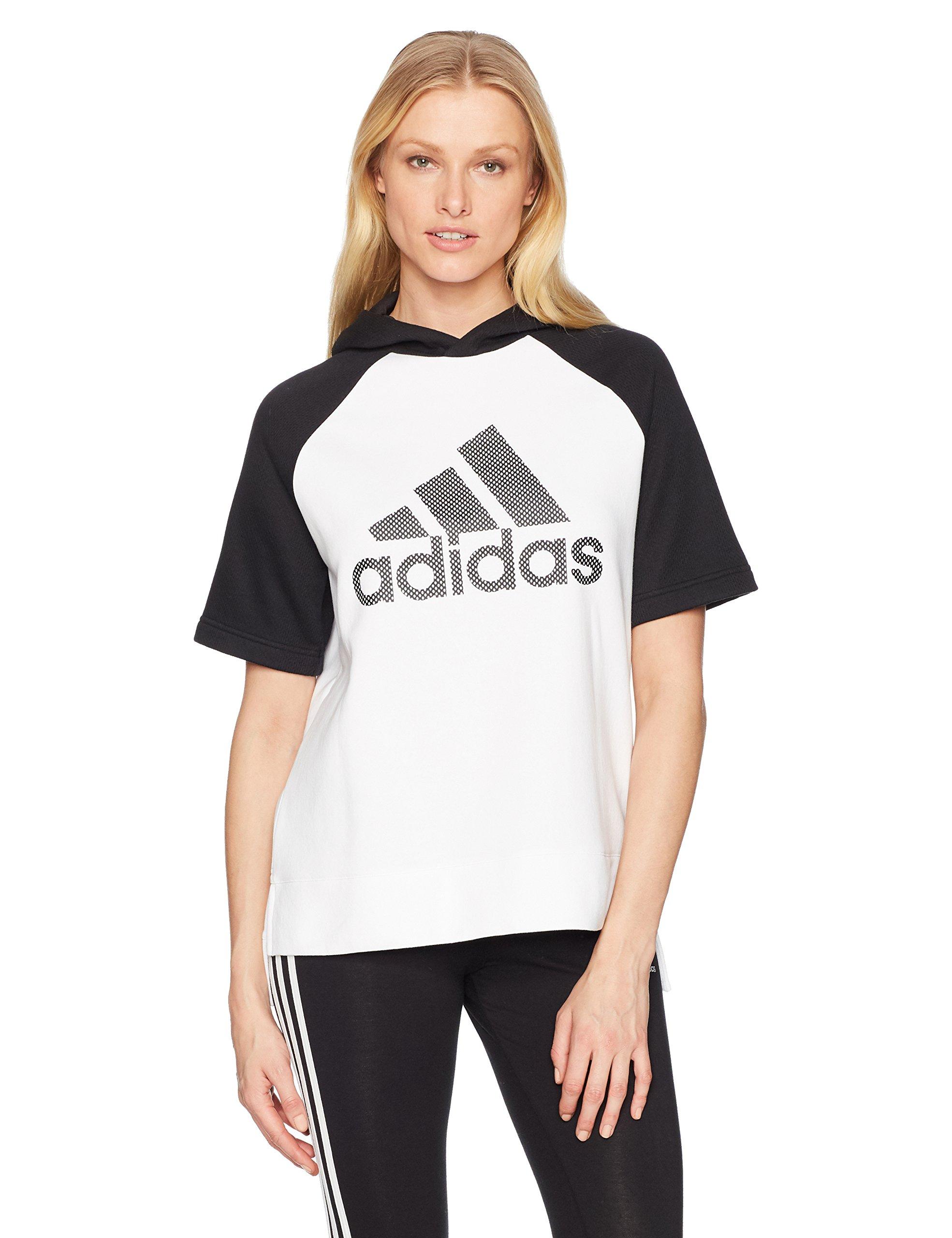 adidas Womens Athletics Fashion Full Zip Short Sleeve Hoody, White/Black/Black, Medium