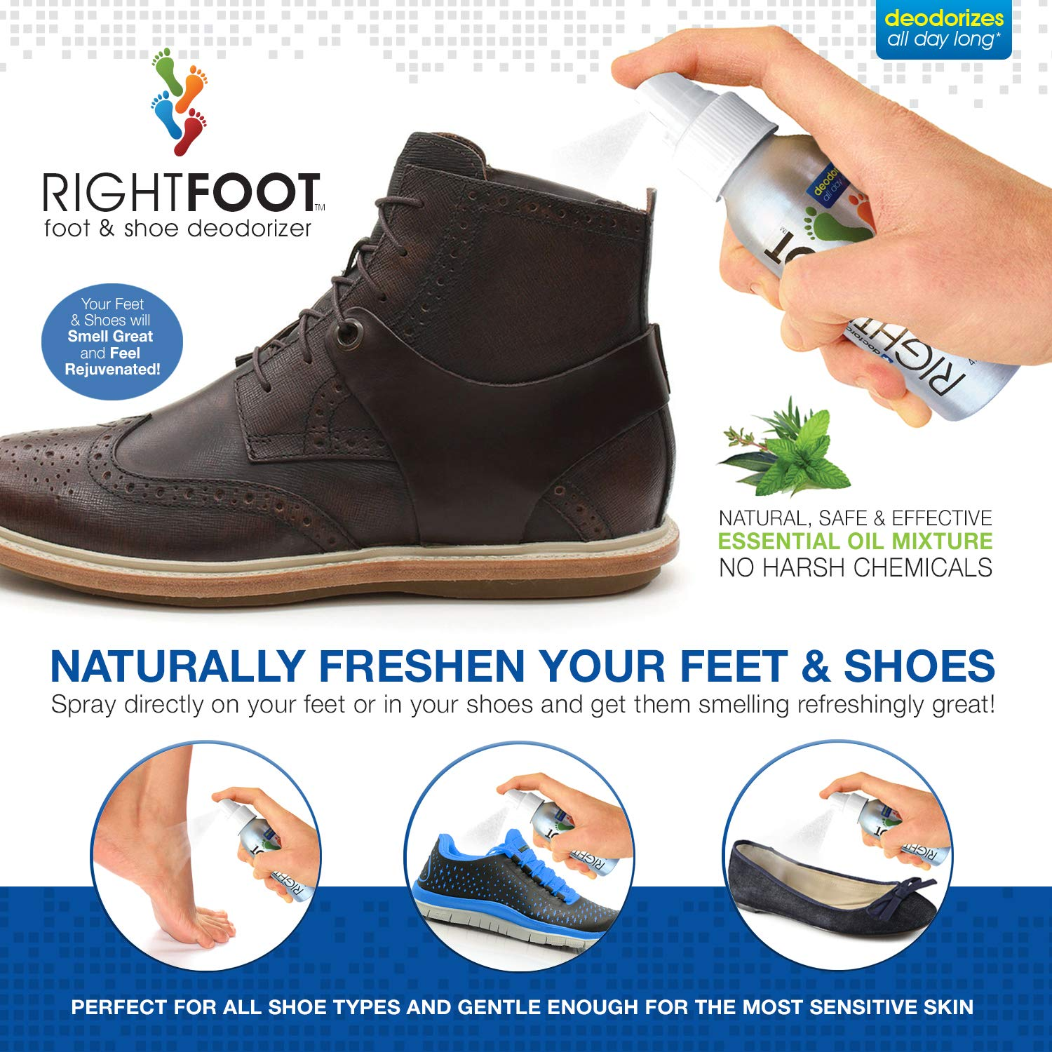 761cbb2616e15 Amazon.com: #1 Most Effective Foot and Shoe Deodorizer Spray - All Natural  and 100% Safe for All Shoes & Feet - Fresh Peppermint & Tea Tree Deodorant,  ...
