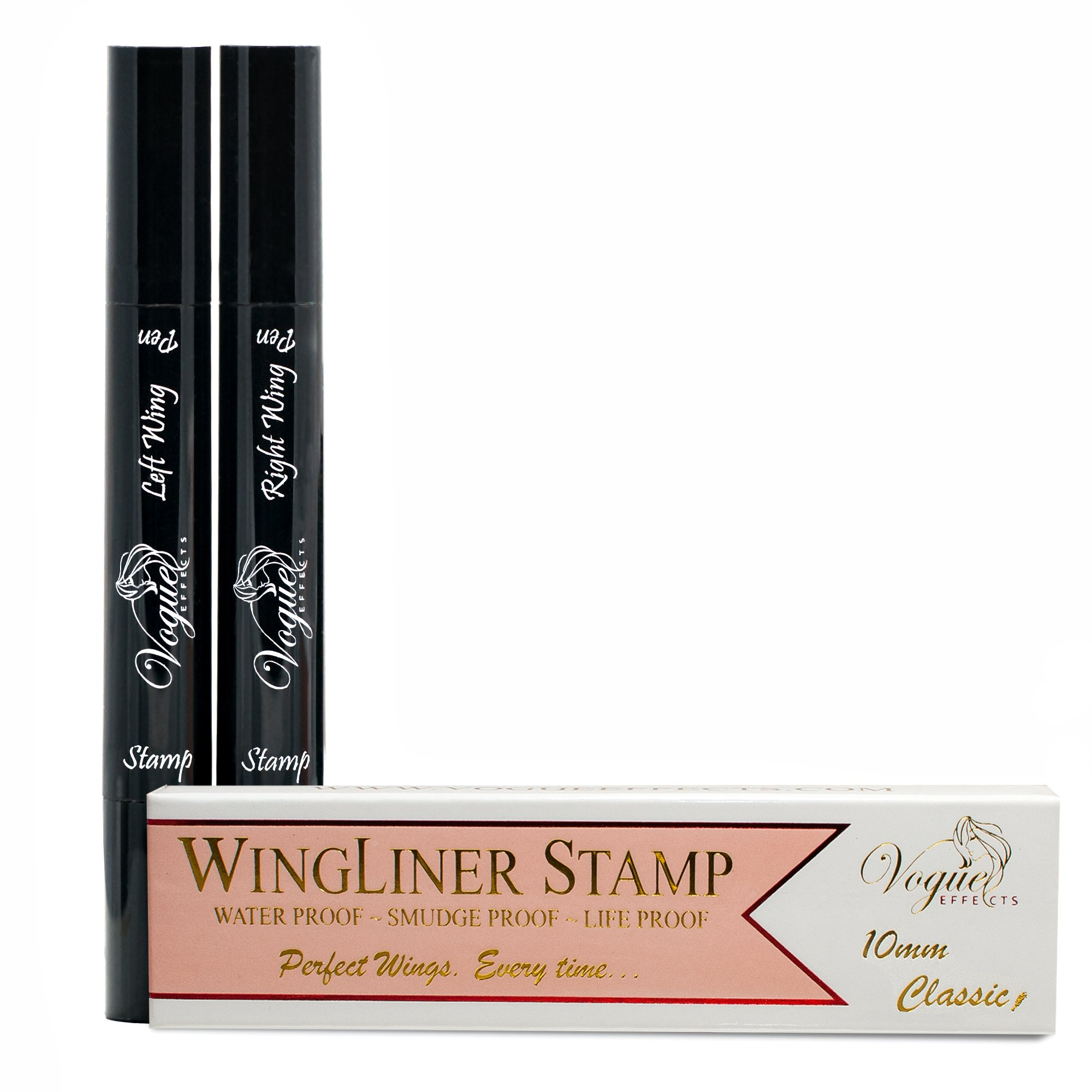 Eyeliner Stamp – WingLiner by Lovoir / Vogue Effects Black, waterproof, smudgeproof, winged long lasting liquid eye liner pen, Vamp style wing, No Dipping required. 2 Pens (10mm Classic) by Vogue Effects (Image #6)