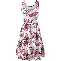 FENSACE Women's A Line Sleeveless Floral Summer Dress