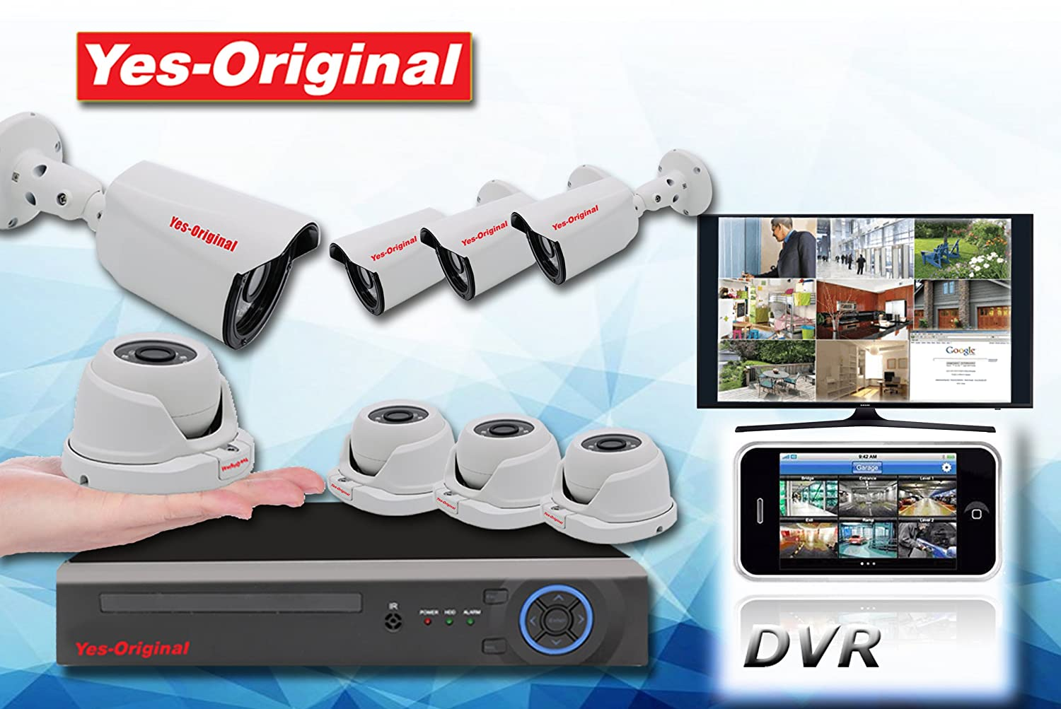 2 MP 1920TVL Indoor//Outdoor Fixed CCTV Cameras Yes-Original 1080P HD-TVI Security Camera System 8CH DVR Recorder and NO Hard Drive Included OR-T80822DK 8