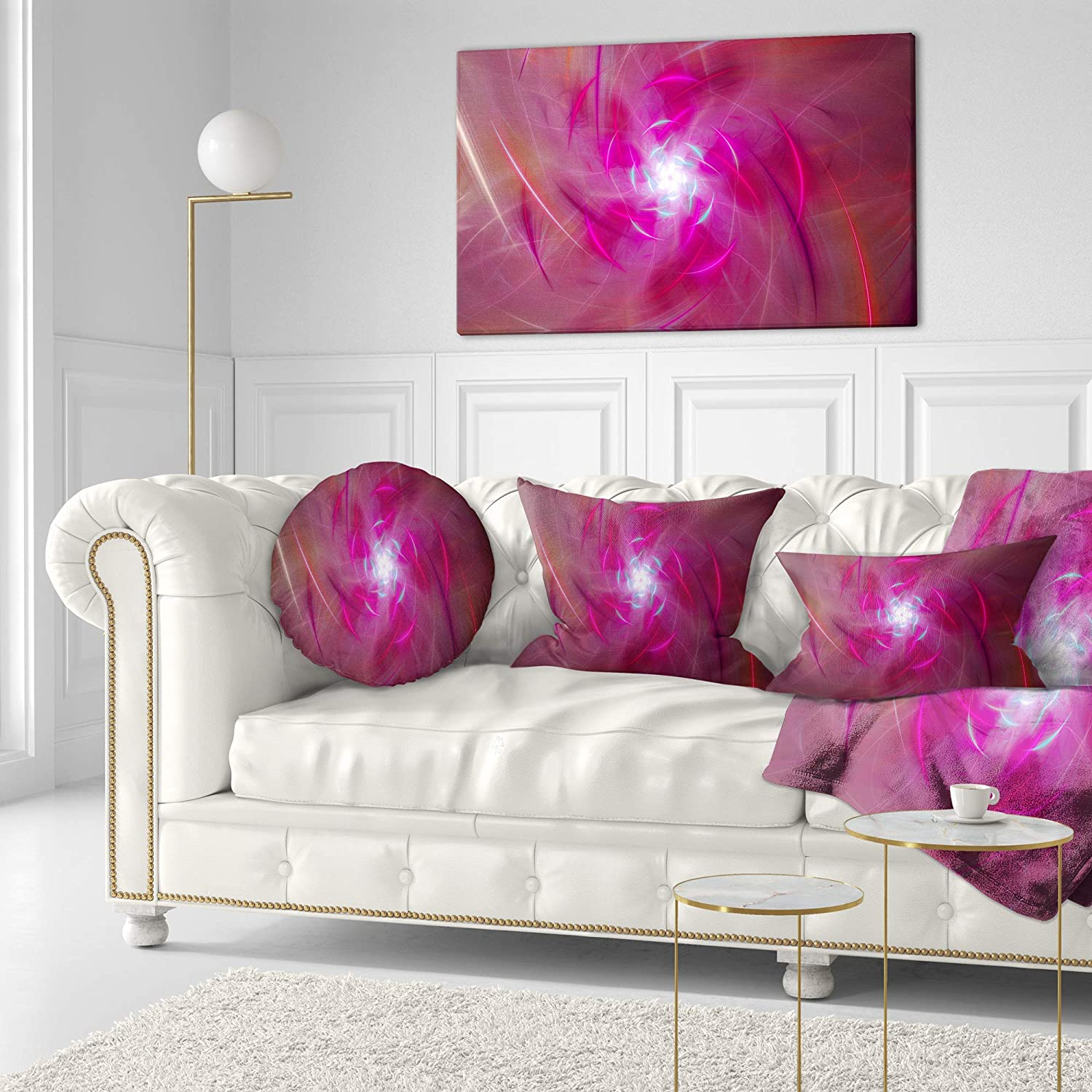 Pillow Insert Designart CU16005-20-20-C Pink Fractal Whirlpool Design Abstract Throw Cushion Pillow Cover for Living Room 20 Inches Round Sofa Cushion Cover Printed on Both Side