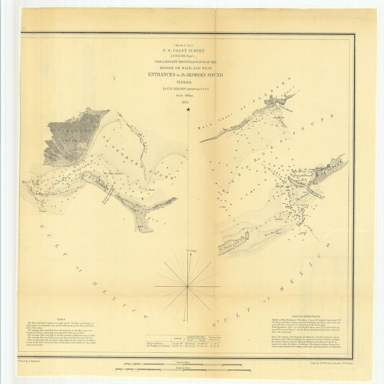 Saint George Florida Map.Amazon Com Vintography 18 X 24 Canvas 1853 Us Old Nautical Map