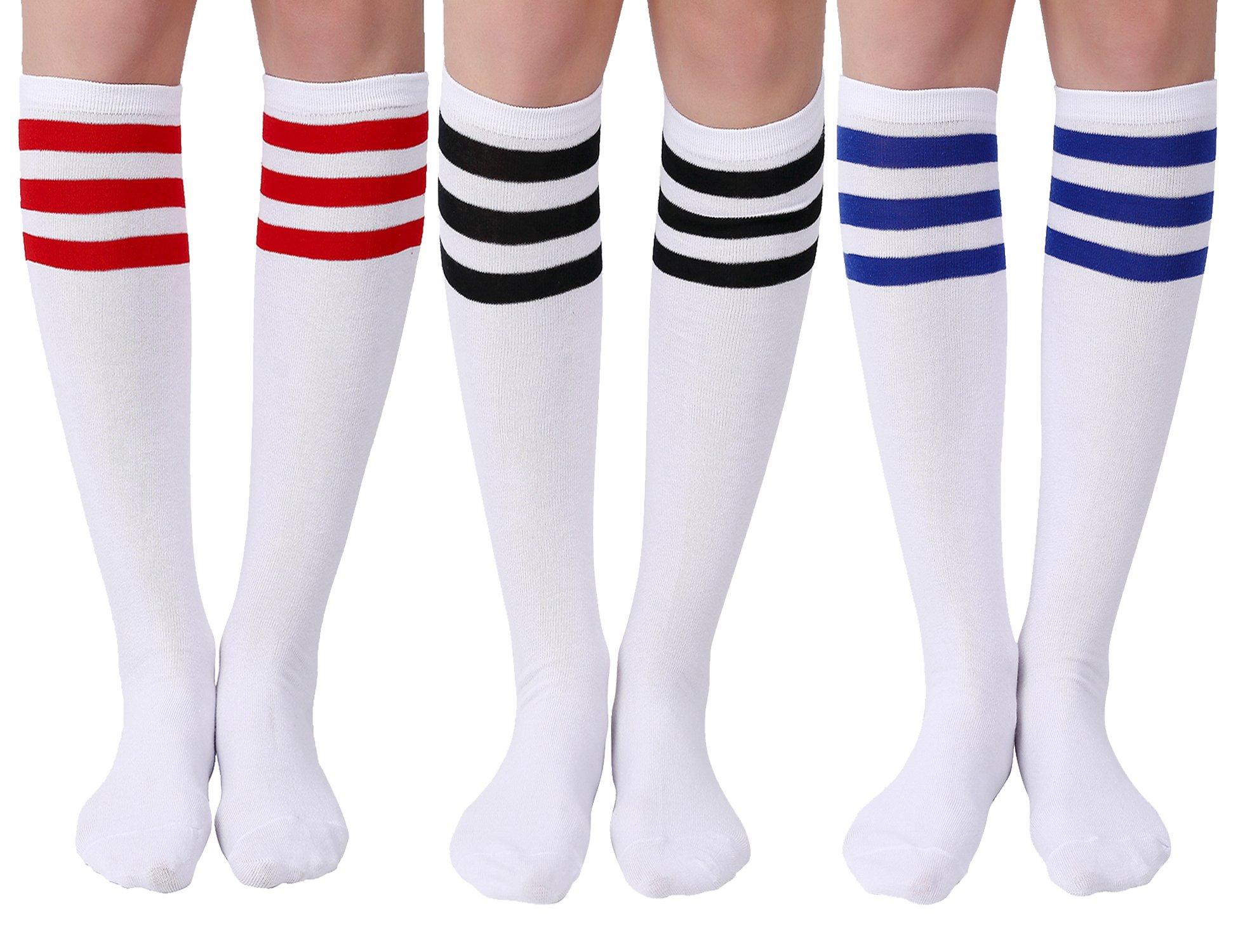 Joulli Women's Casual Stripe Knee High Socks 3 Pairs ,White