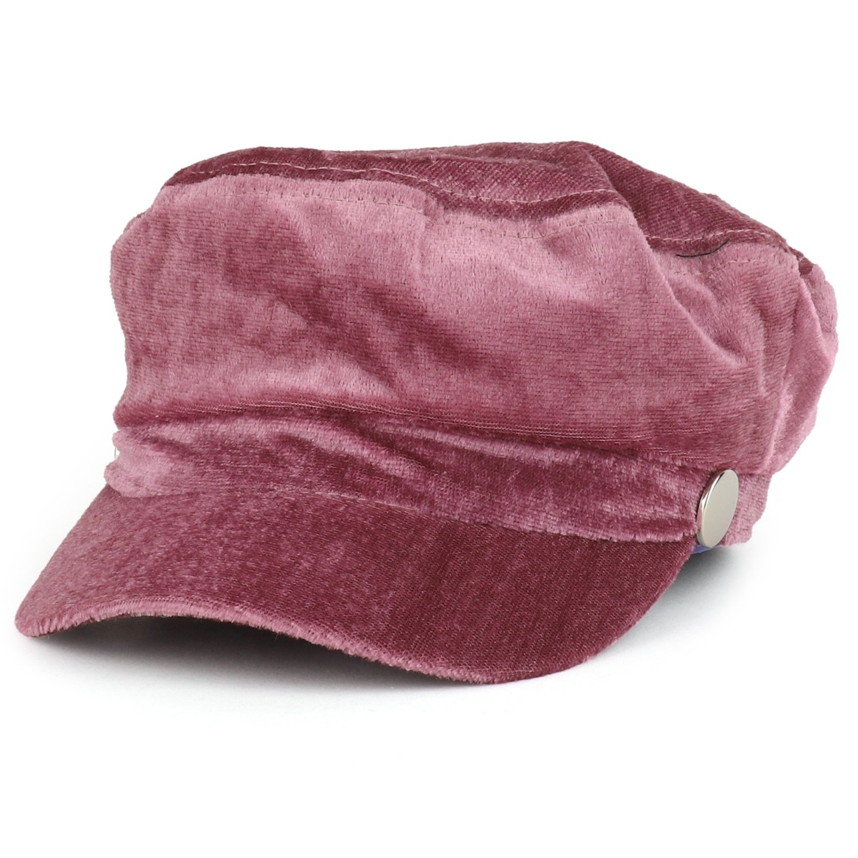 Trendy Apparel Shop Women's Newsboy Velvet Baker Boy Style Cabbie Hat - Mauve
