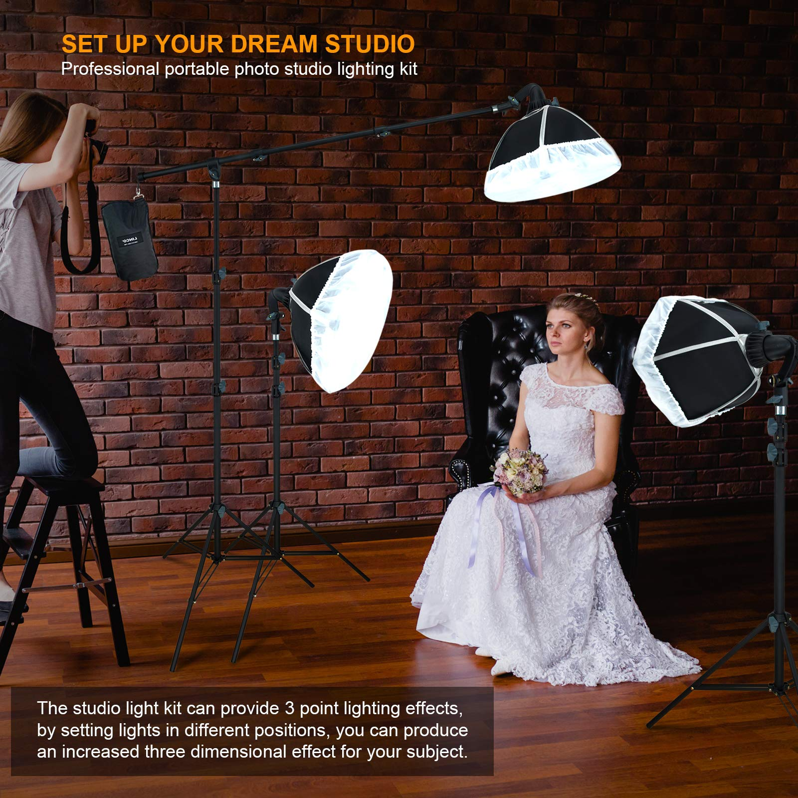 LINCO Lincostore Photography Studio Lighting Kit Arm for Video Continuous Lighting Shadow Boom Box Lights Set Headlight Softbox Setup with Daylight Bulbs 2400 Lumens AM261 by Linco (Image #7)