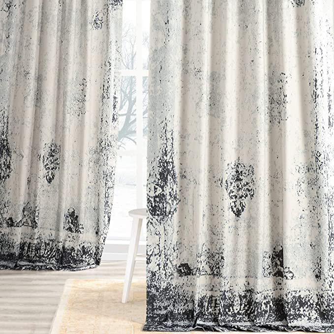 Indigo Half Price Drapes PRTW-D35C-108 Triad Printed Cotton Twill Curtain 50 x 108 Exclusive Fabrics /& Furnishings