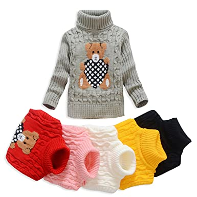 fd2b4ce91a84 VIFUUR Kids Bear Turtleneck Sweater Boys Girls Knit Sweater For ...
