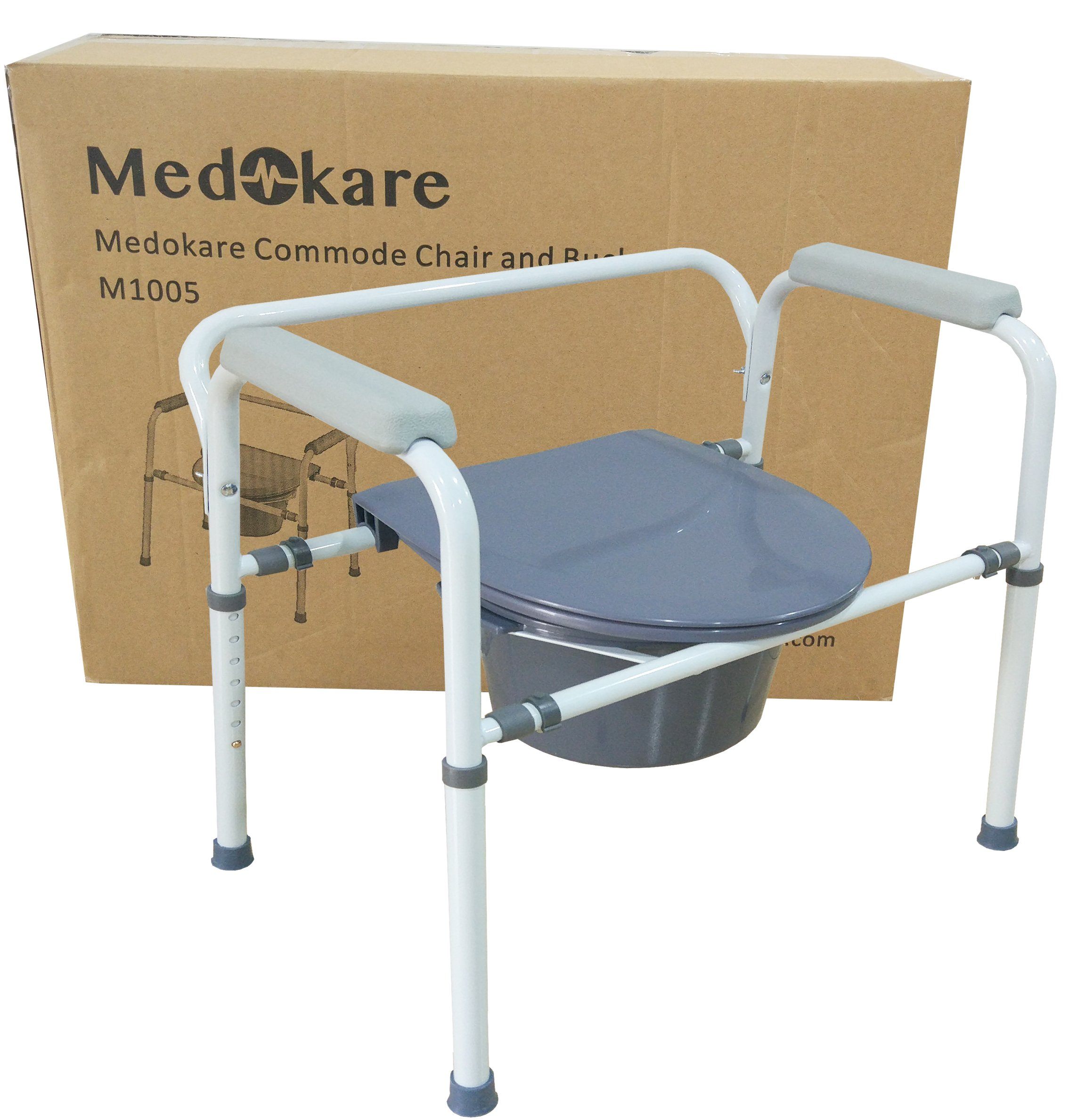 Medokare Bedside Commode Chair - Heavy-Duty Steel Commode Seat, Bedside Potty Chair for Adults, Medical Handicap Toilet Seat with Handles and Bucket by Medokare (Image #2)