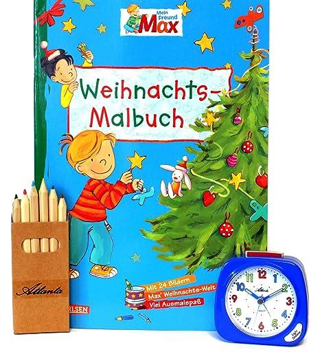 ATLANTA Niños Reloj Despertador para niño Azul + Libro para Colorear Navidad + lápices de 1936