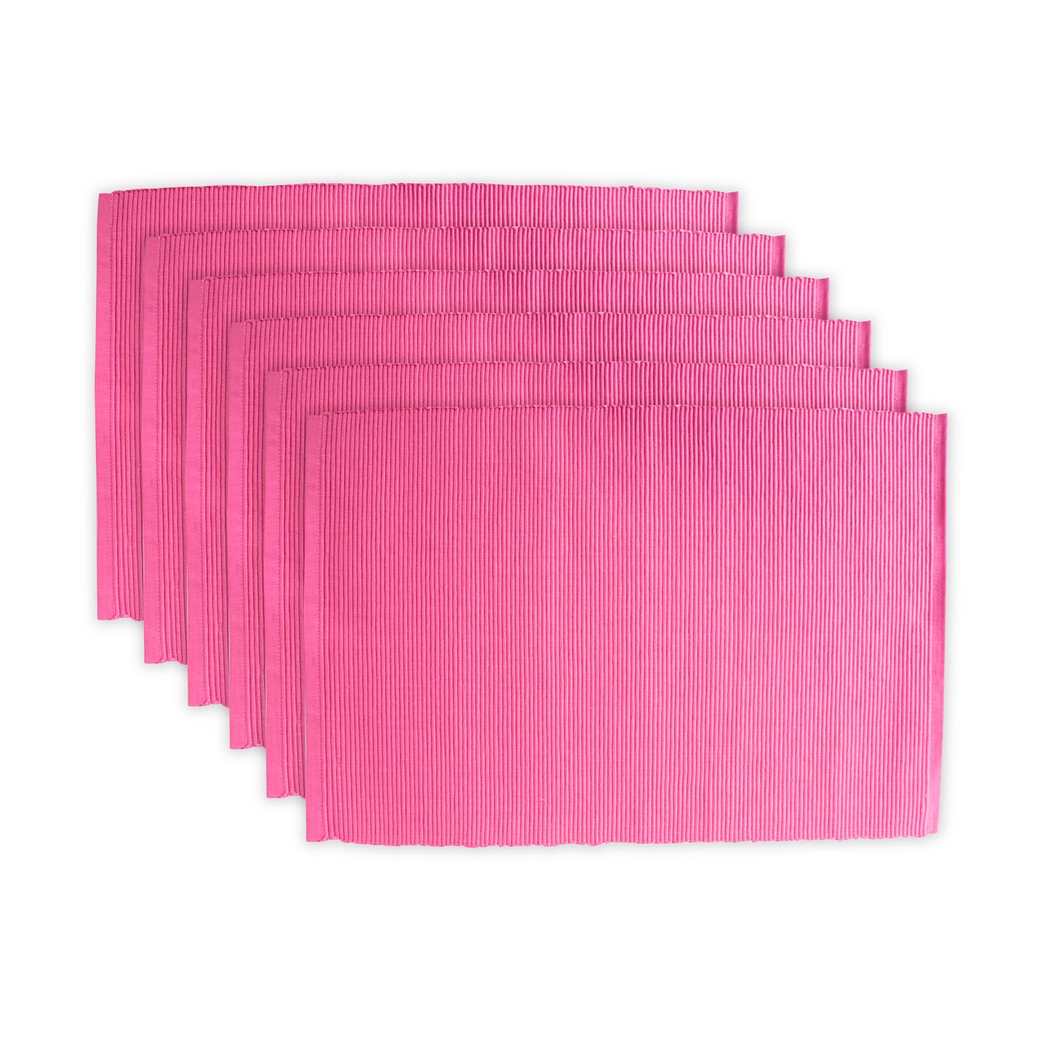 DII Cotton Ribbed Table Placemat for Valentine's Day, Mother's Day and Everyday Use - 13x 19, Flamingo Pink, Set of 6 by DII