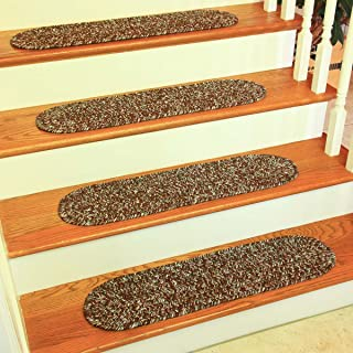 product image for Braided Brown Stair Treads (8in. X 28in. Set of 13) Sandi SA38 by Rhody Rugs