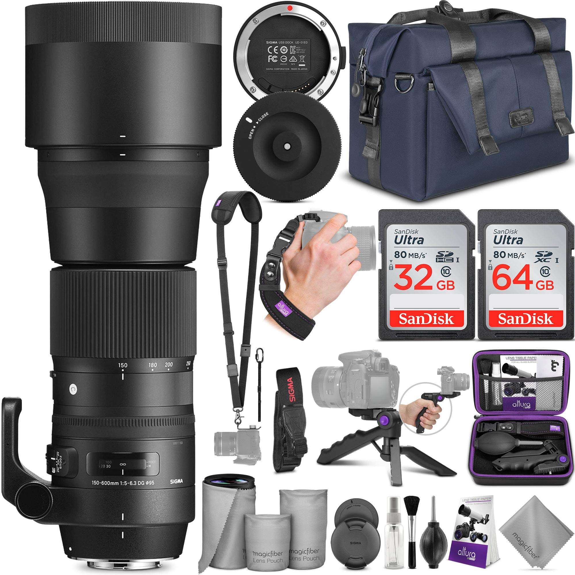 Sigma 150-600mm 5-6.3 Contemporary DG OS HSM Lens for Nikon DSLR Cameras + Sigma USB Dock with Altura Photo Complete Accessory and Travel Bundle by Sigma