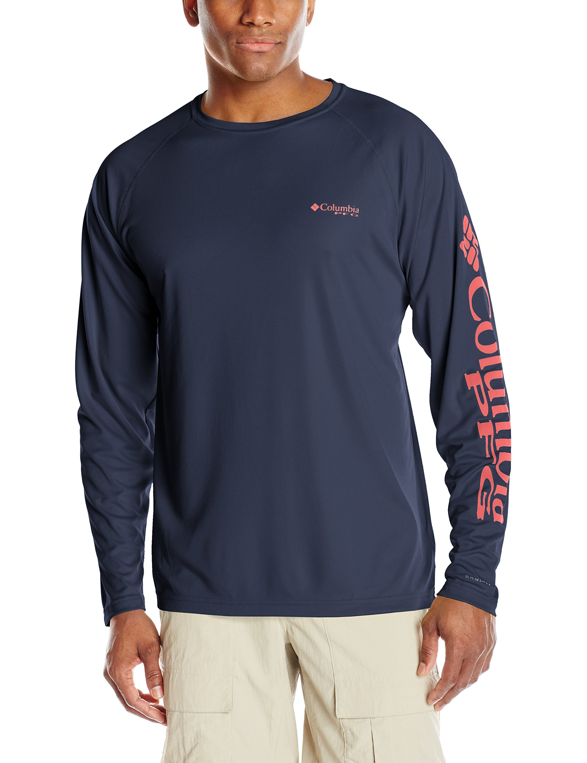 Columbia Sportswear Men's Terminal Tackle Long Sleeve Shirt, Collegiate Navy/Sunset Red Lo, Large